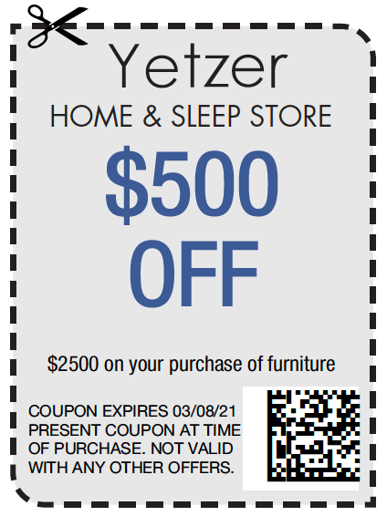 Yetzer Home & Sleep Store $500 off   Yetzer Home Store