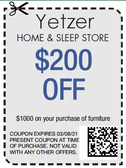 Yetzer Home & Sleep Store $200 off   Yetzer Home Store